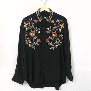 VINTAGE Silk Embroidered Blouse